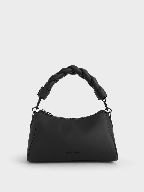 Braided Handle Bag, Black, hi-res