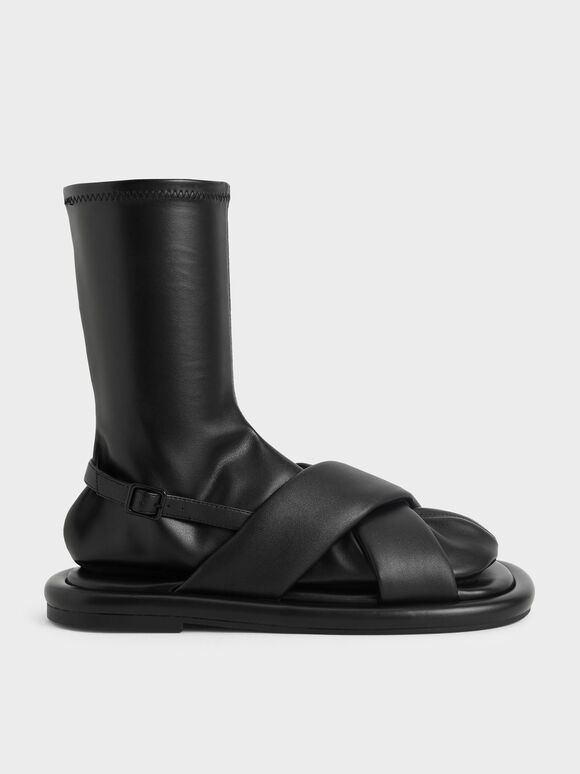 Sepatu Lucile Flat Calf Boots, Black, hi-res