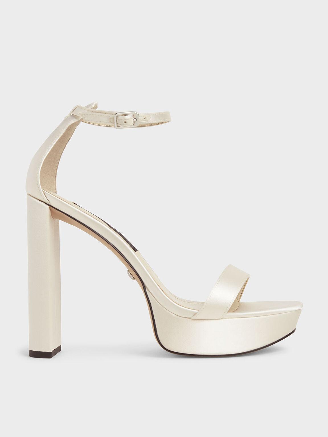 Wedding Collection: Sandal Platform Satin, White, hi-res