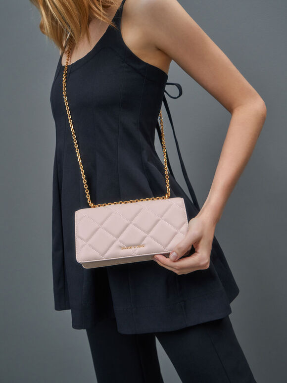 Dompet Panjang Chain Handle Quilted, Light Pink, hi-res