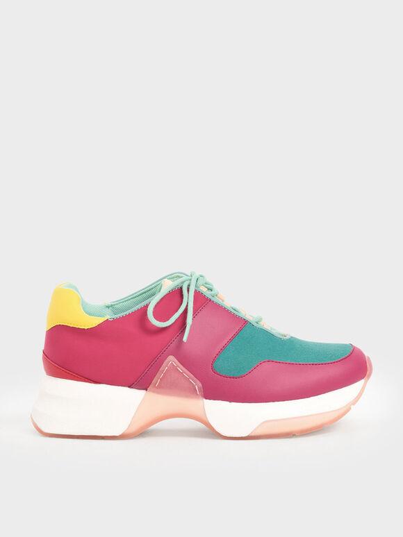 Sepatu Sneakers Bertali Bertekstur, Teal, hi-res