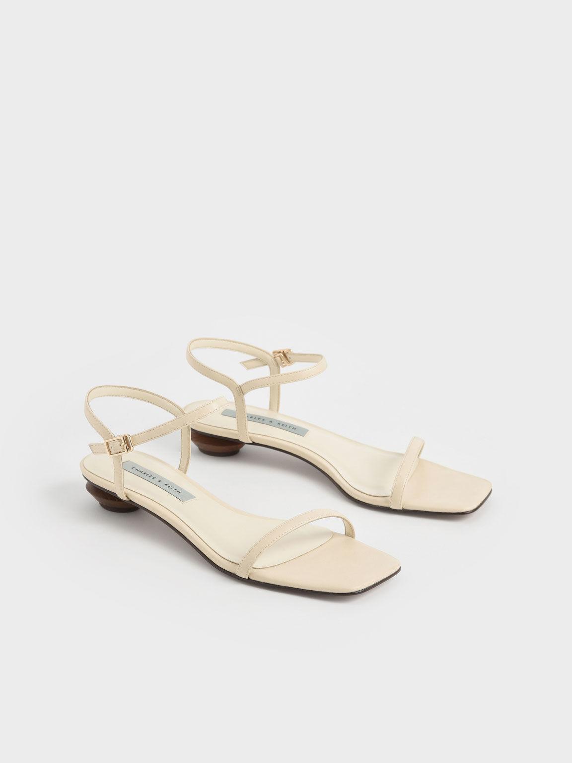 Sandal Sculptural Heel Ankle Strap, Chalk, hi-res