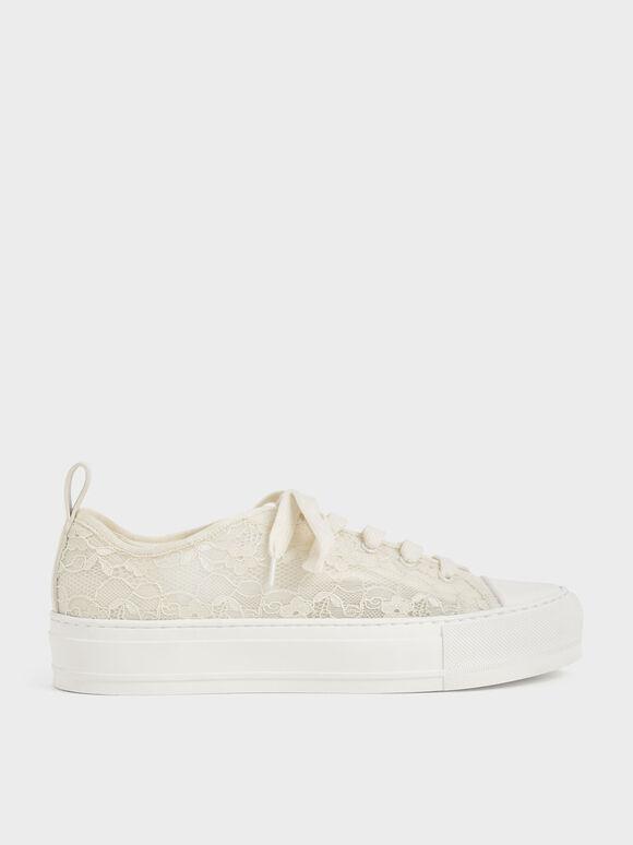 Sepatu Sneakers Lace Low-Top, Cream, hi-res