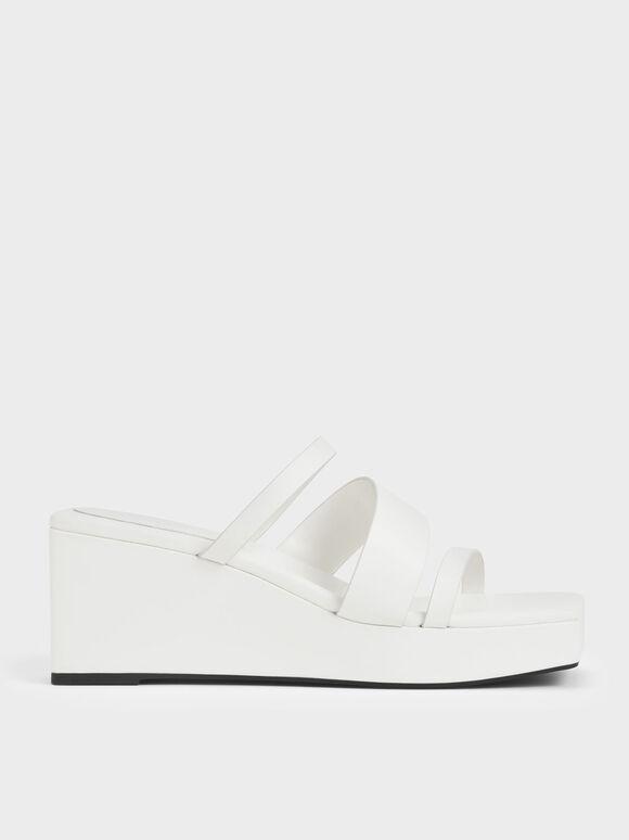 Sepatu Wedges Platform Asimetris, White, hi-res