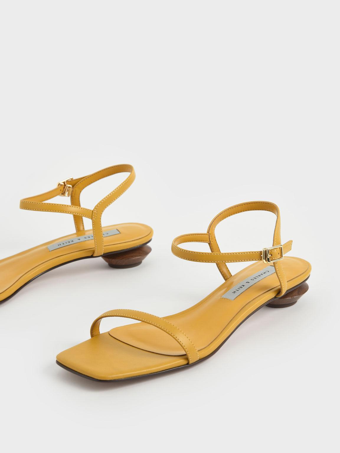 Sandal Sculptural Heel Ankle Strap, Mustard, hi-res