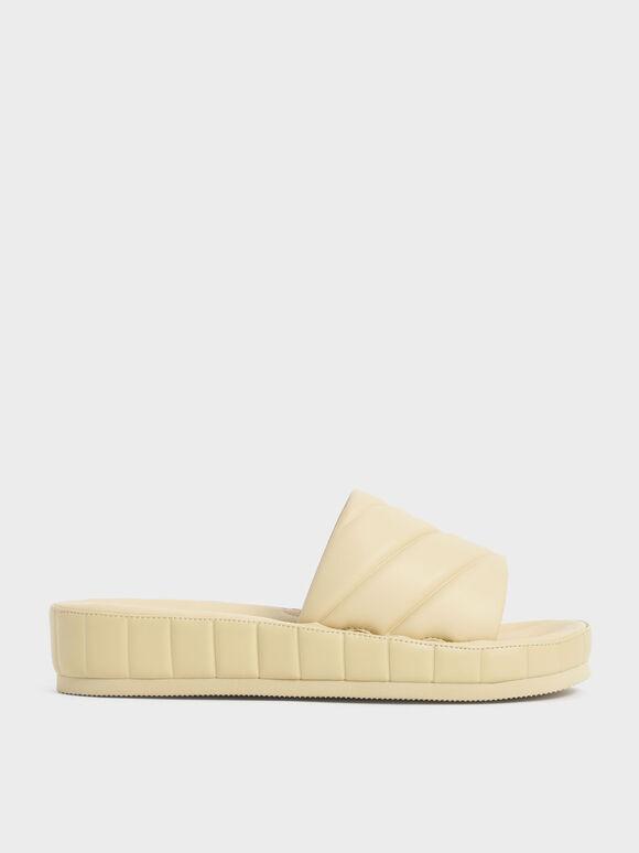 Sandal Puffy Flatform Slide, Yellow, hi-res