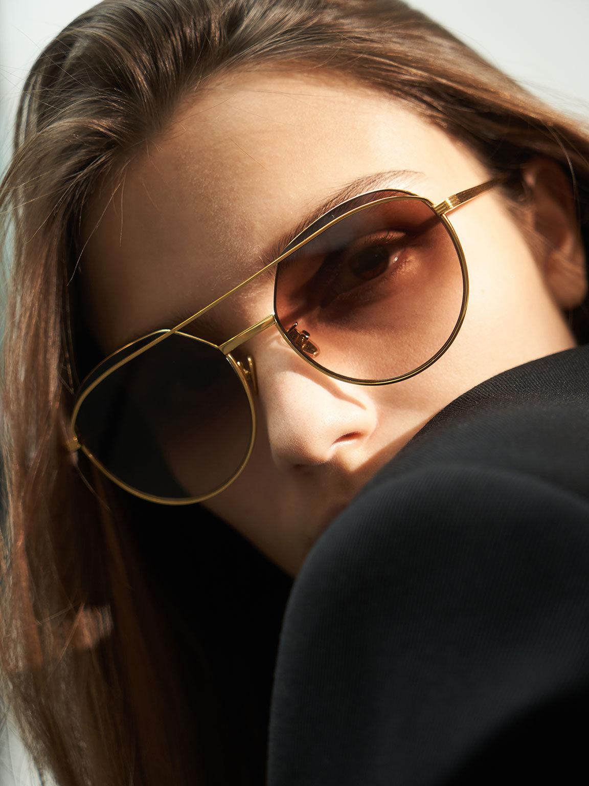 Double Bridge Wireframe Aviator Sunglasses, Gold, hi-res