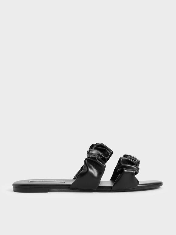 Sandal Ruched Strap Slide, Black, hi-res