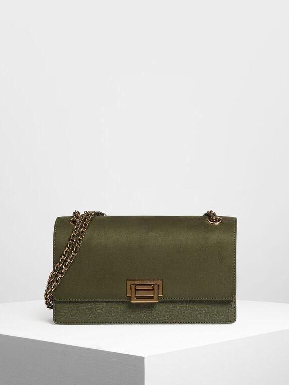 Textured Chain Link Shoulder Bag, Olive, hi-res
