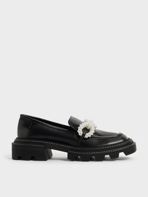 Sepatu Perline Beaded Platform Loafers, Black, hi-res