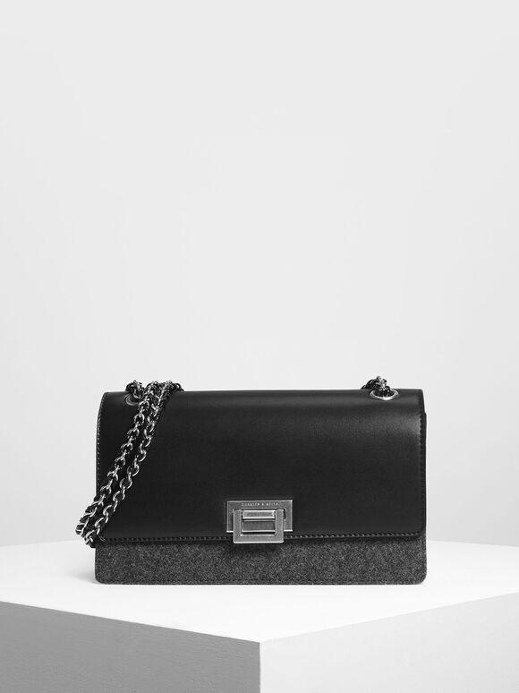 Textured Chain Link Shoulder Bag, Black, hi-res