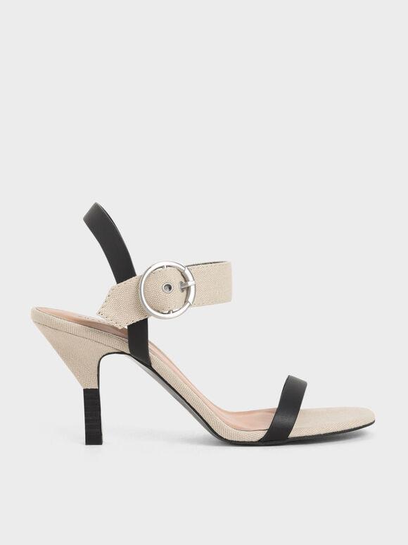 Sandal Bertumit Dua Warna Gesper Besar, Beige, hi-res