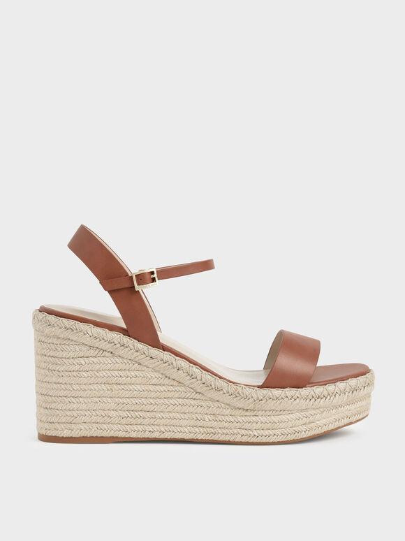 Sepatu Wedges Ankle Strap Espadrille, Cognac, hi-res
