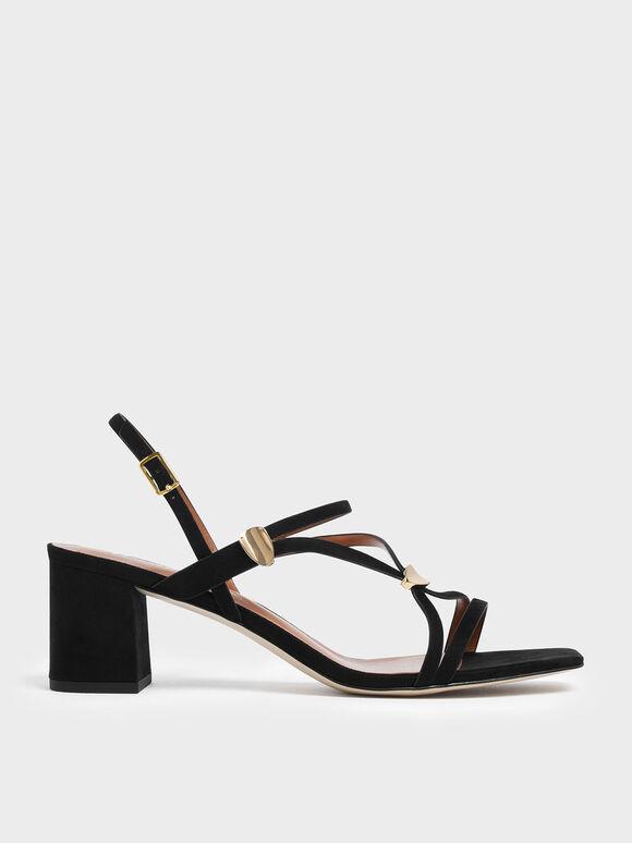 Sepatu Heels Metal Accent Strappy Textured Block, Black, hi-res