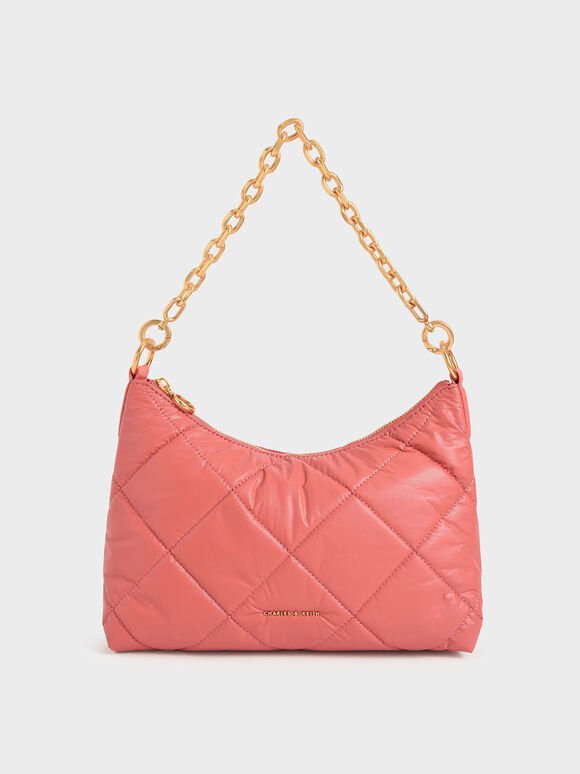 Puffy Quilted Chain Handle Bag, Coral, hi-res