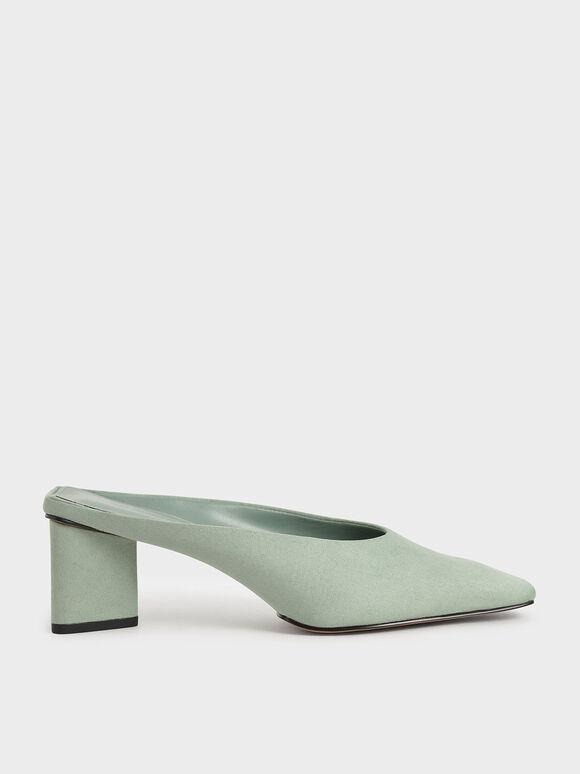 Textured Square Toe Mules, Mint Green, hi-res