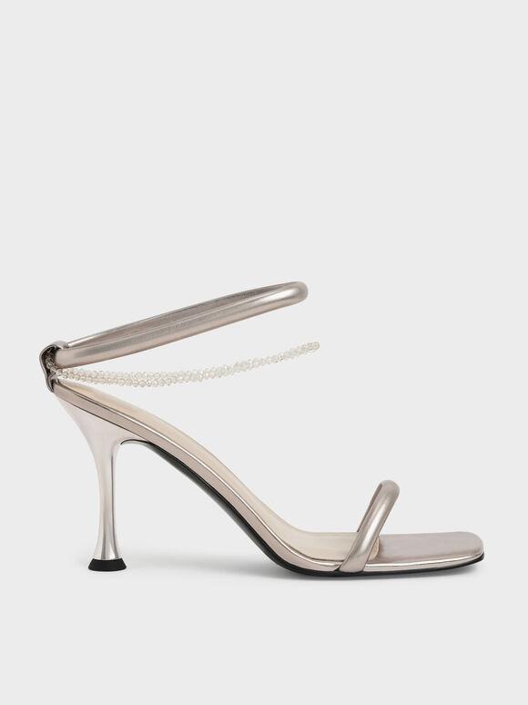 Metallic Beaded Strap Heeled Sandals, Rose Gold, hi-res