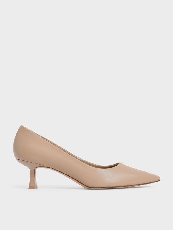 Sepatu Pointed Kitten Heel Pumps, Nude, hi-res