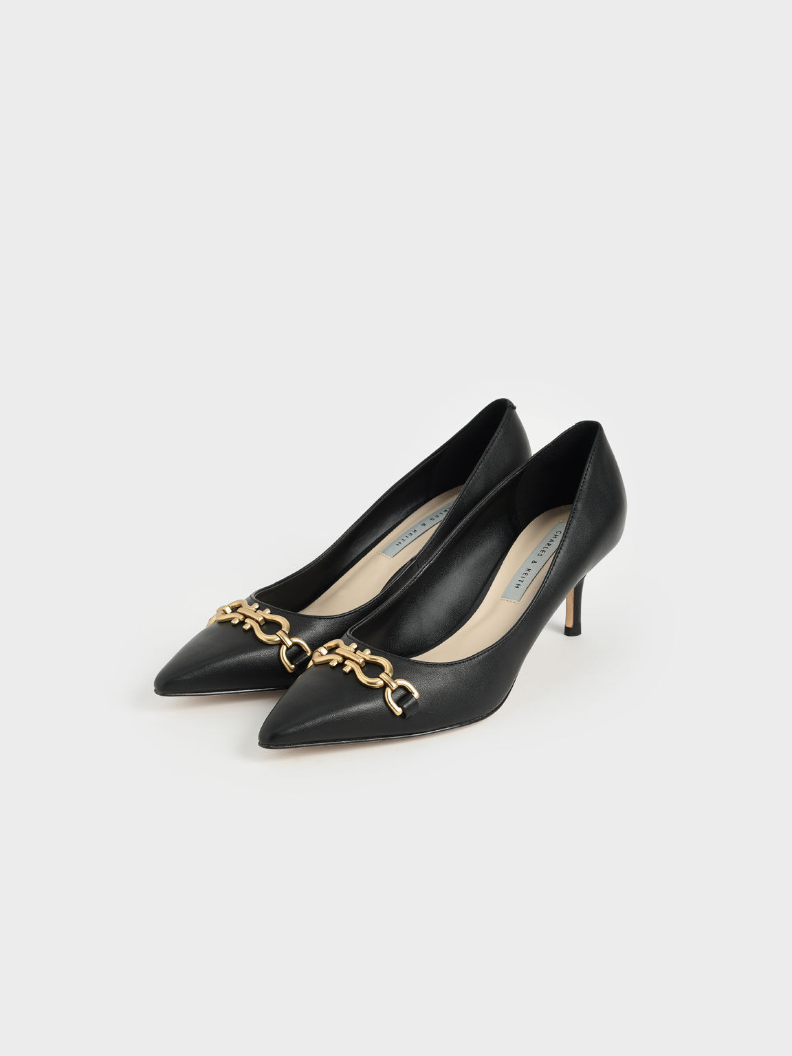 Chain Link Pointed Toe Pumps, Black, hi-res