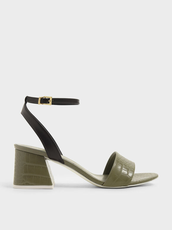 Sandal Croc-Effect Ankle Strap Heeled, Animal Print Green, hi-res
