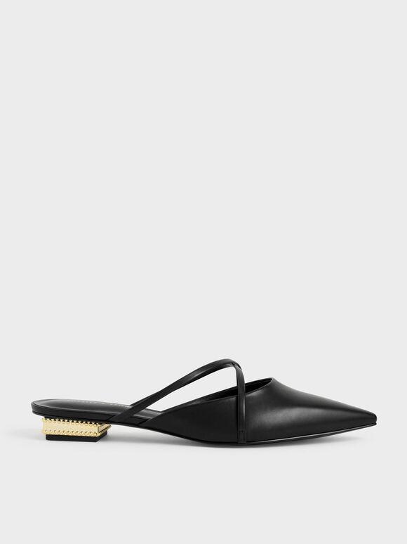 Sepatu Pointed Toe Cross Strap Mules, Black, hi-res