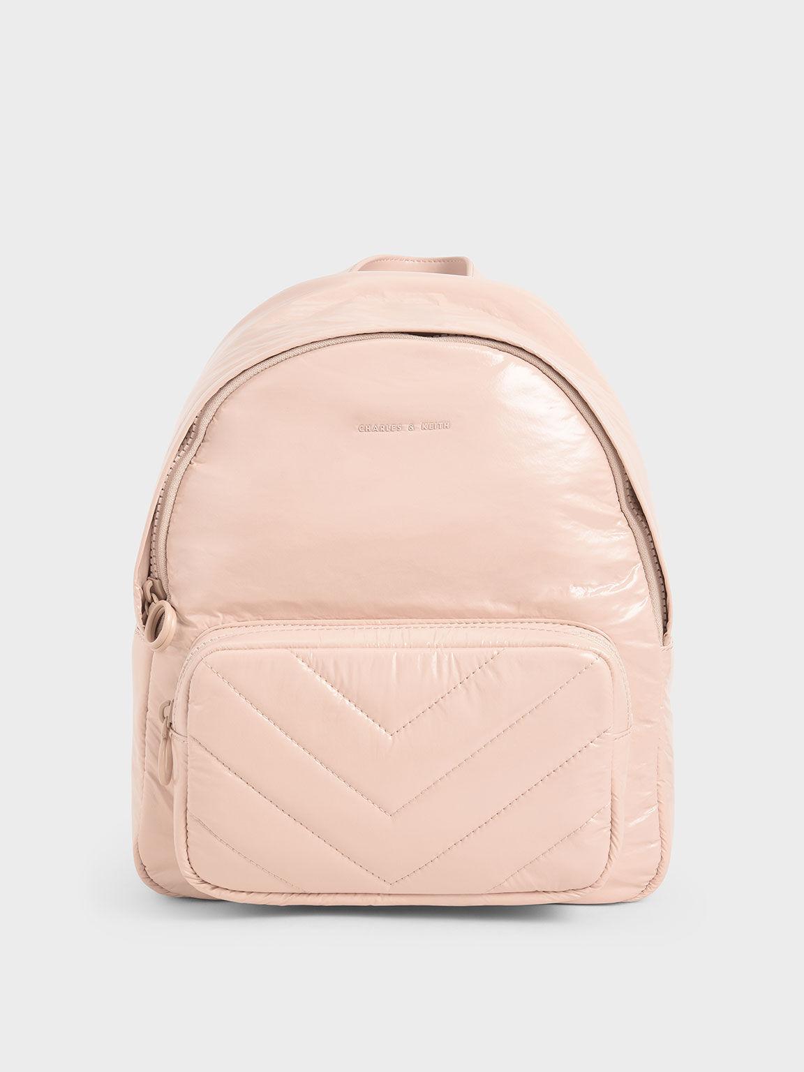 Tas Backpack Quilted Double Zip, Nude, hi-res