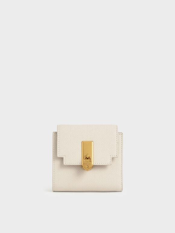 Dompet Kecil Metallic Push-Lock, Cream, hi-res