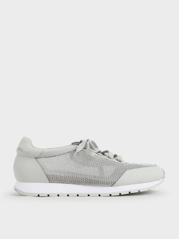 Sepatu Sneakers Mesh Low-Top, Grey, hi-res