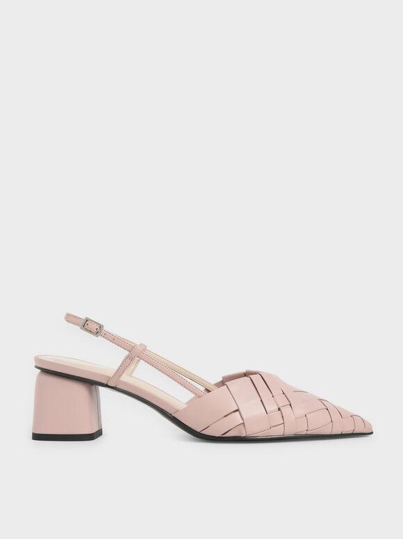 Sepatu Woven Slingback Pumps, Light Pink, hi-res