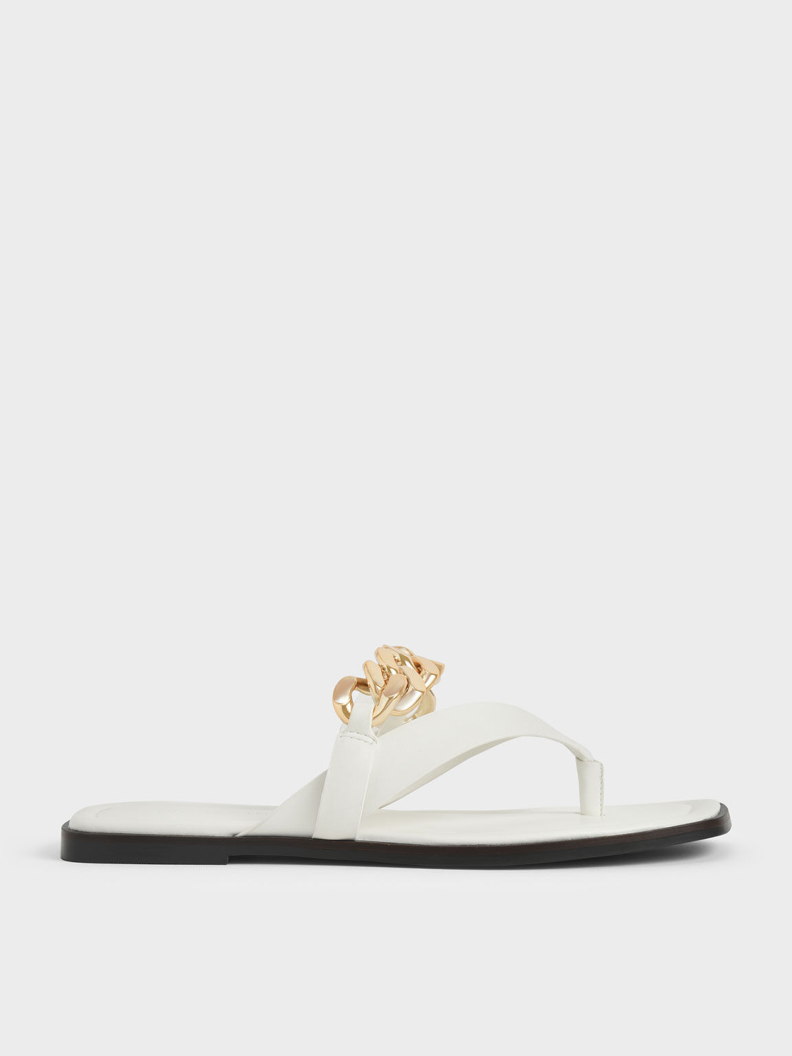 Sandal Chain Strap Thong, White, hi-res