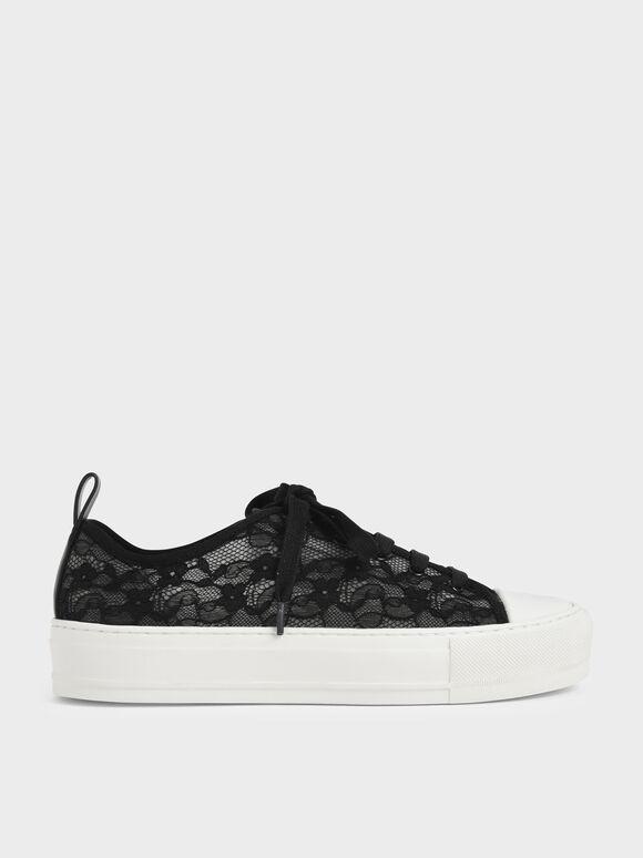 Sepatu Sneakers Lace Low-Top, Black, hi-res