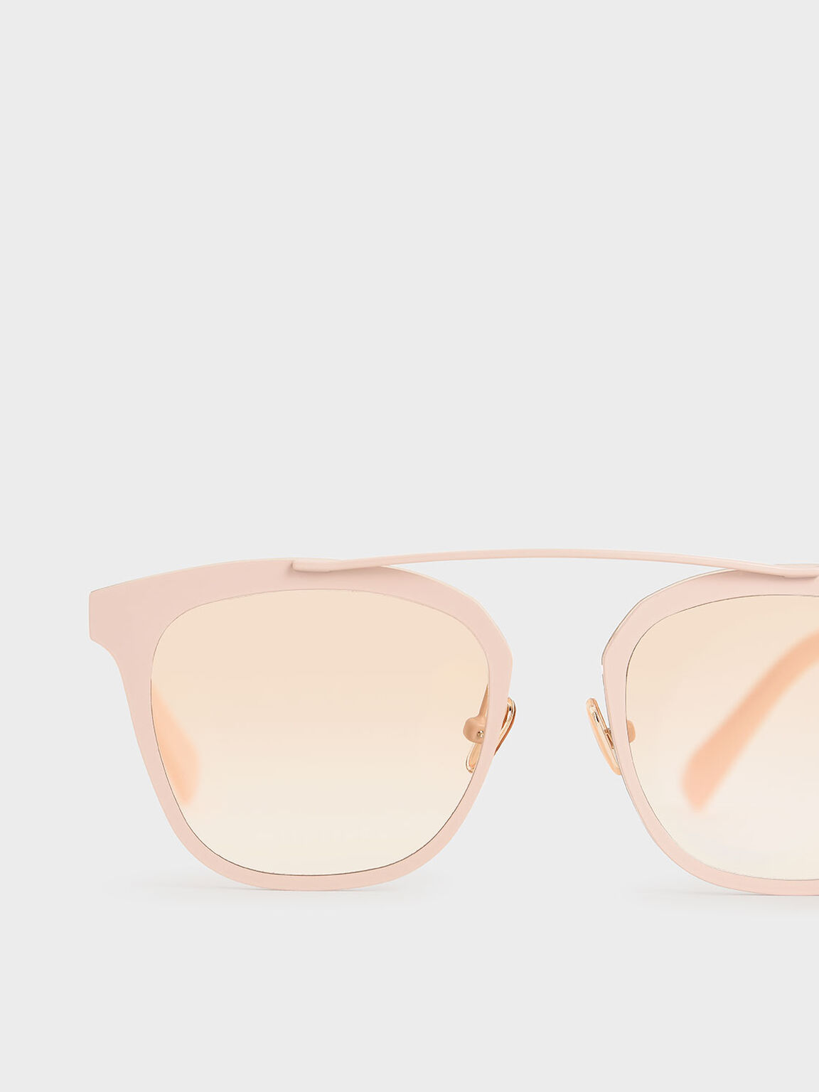 Kacamata Bingkai Logam, Pink, hi-res