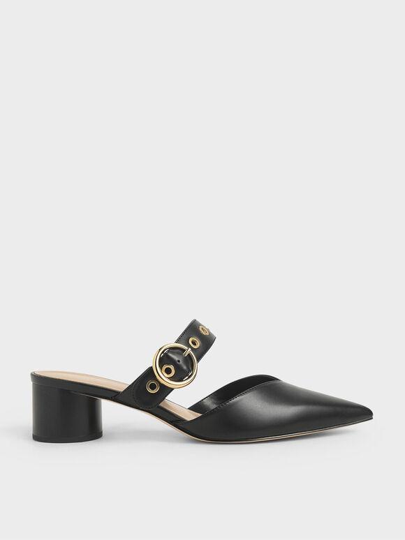Sepatu Grommet Mules, Black, hi-res