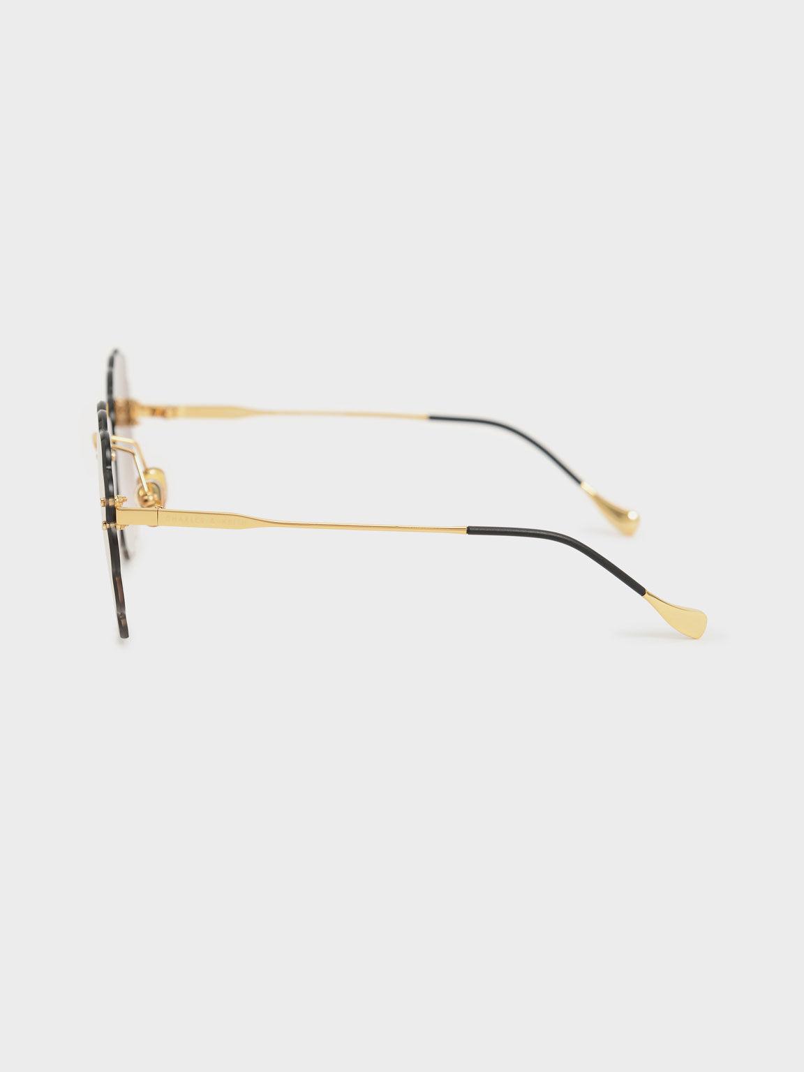 Kacamata Scalloped Butterfly, Gold, hi-res