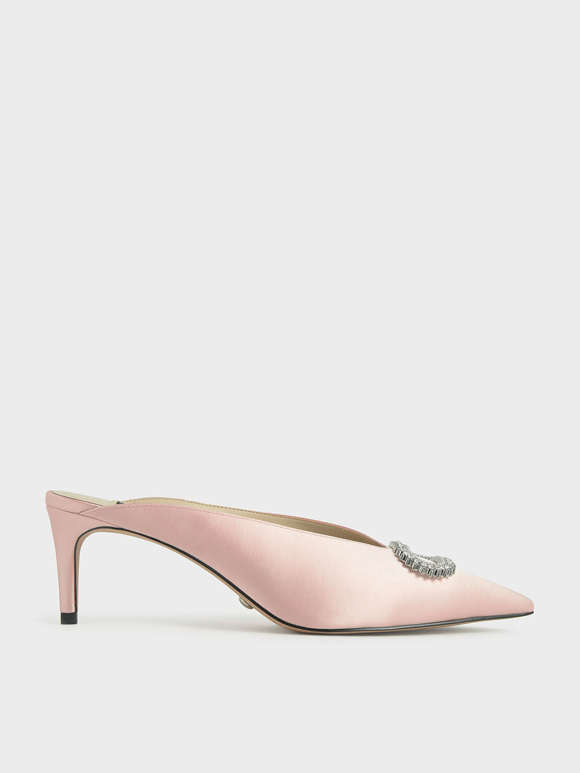 Wedding Collection: Satin Embellished Mules, Pink, hi-res