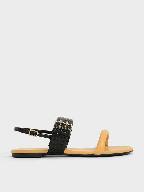 Sandal Puffy Grommet, Yellow, hi-res