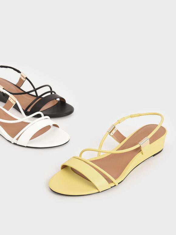 Sepatu Wedges Strappy Slingback, Yellow, hi-res
