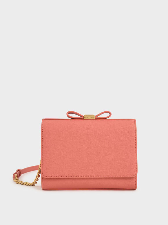 Bow Envelope Clutch, Coral, hi-res