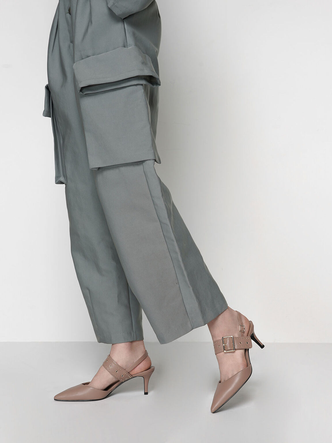 Studded Slingback Heels, Nude, hi-res