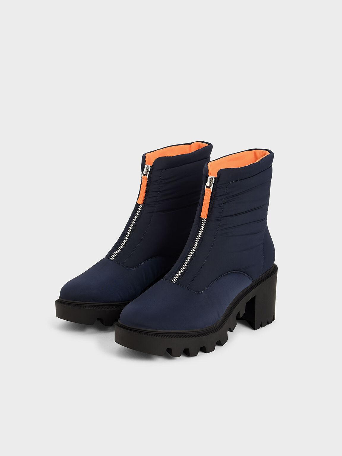 Sepatu Nylon Front Zip Ankle Boots, Dark Blue, hi-res