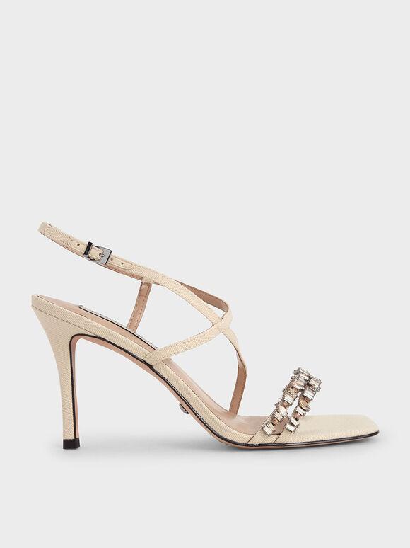 Canvas Gem-Embellished Sandals, Beige, hi-res