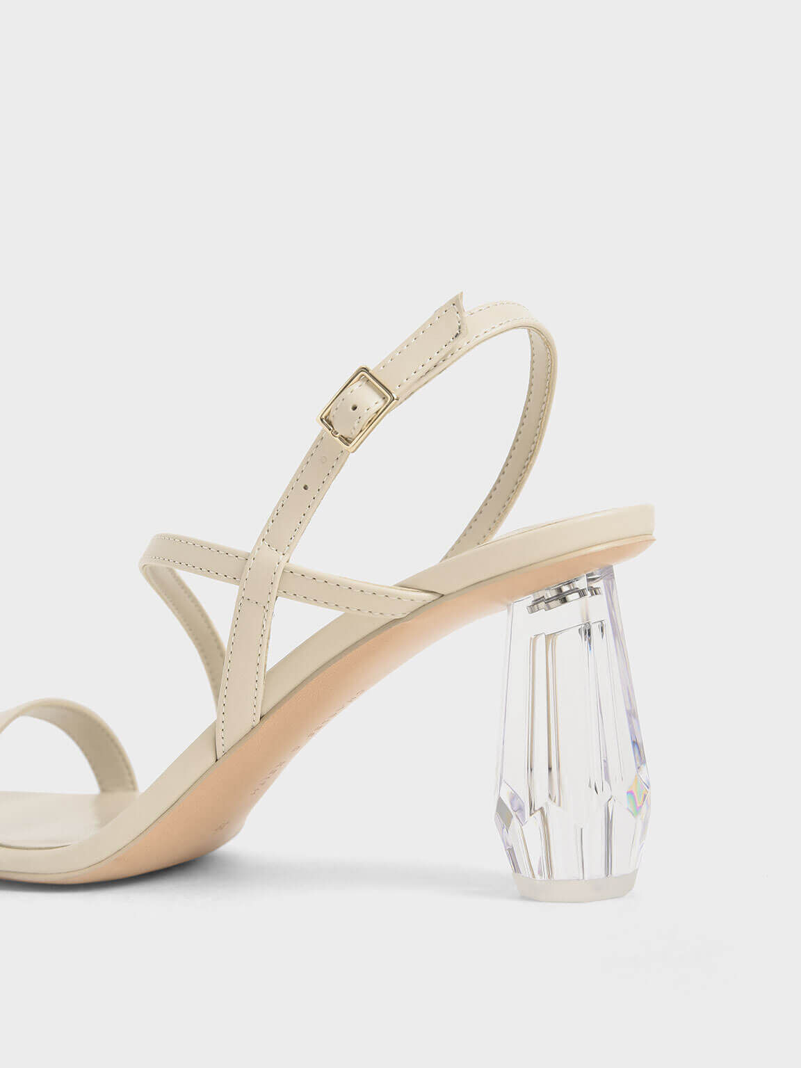 See-Through Sculptural Heel Sandals, Chalk, hi-res