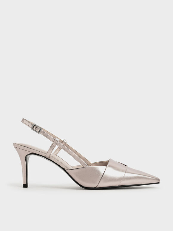Sepatu Satin Slingback Pumps, Rose Gold, hi-res