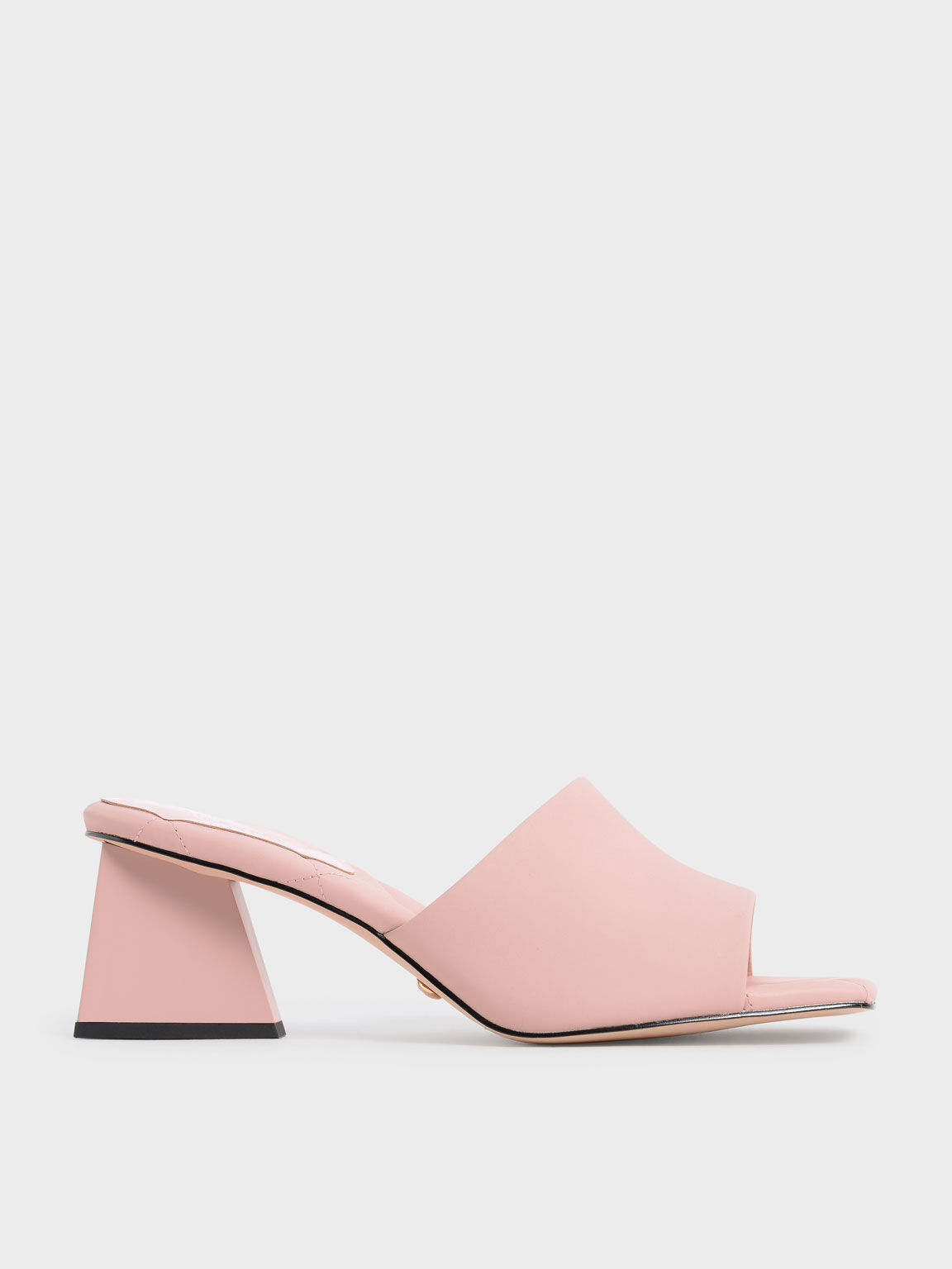 Sandal Leather Trapeze Heel Mules, Pink, hi-res