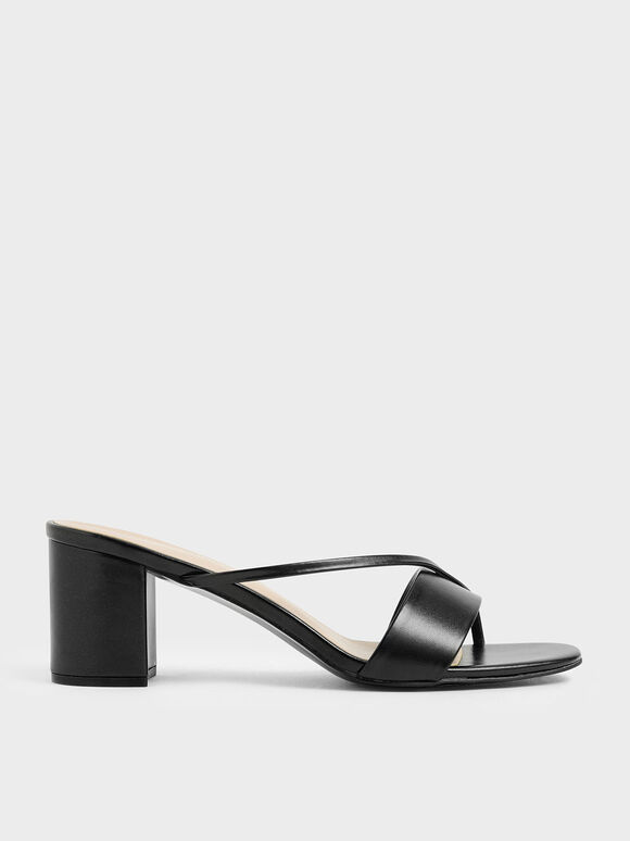 Sandal Tali Asimetris Metalik, Black, hi-res