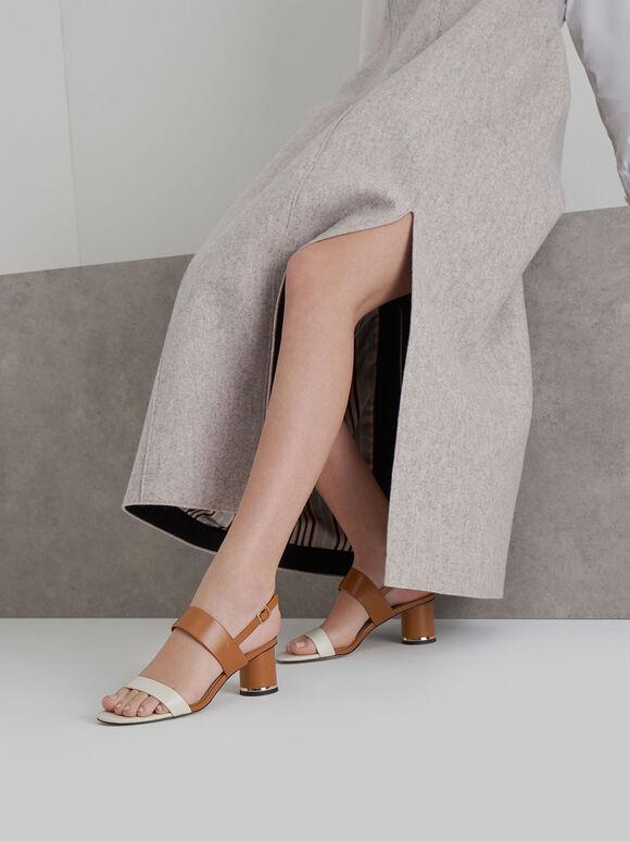 Sandal Two-Tone Cylindrical Heel, Multi, hi-res