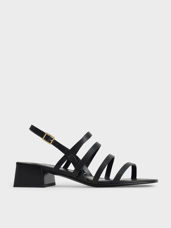 Sandal Strappy Geometric Slingback, Black, hi-res