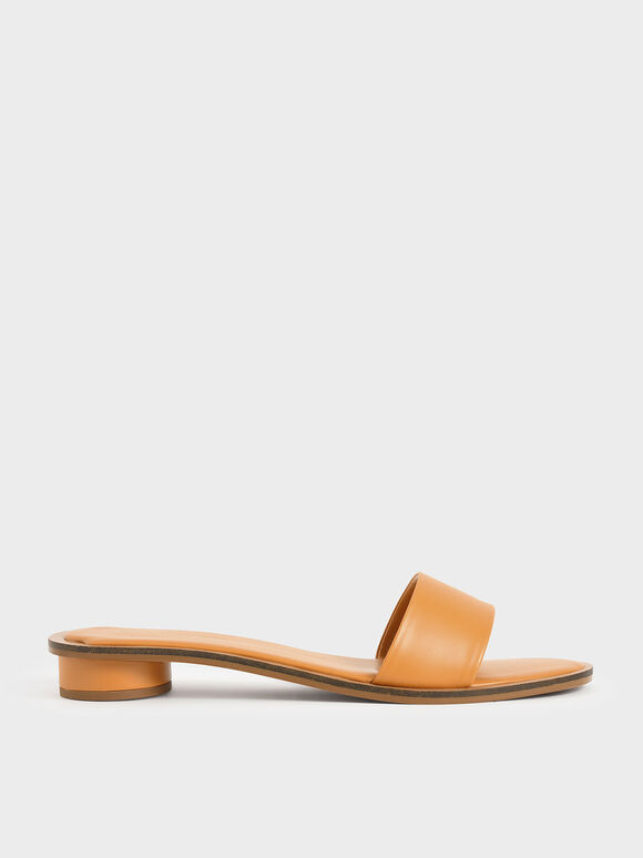 Two-Tone Slide Sandals, Mustard, hi-res