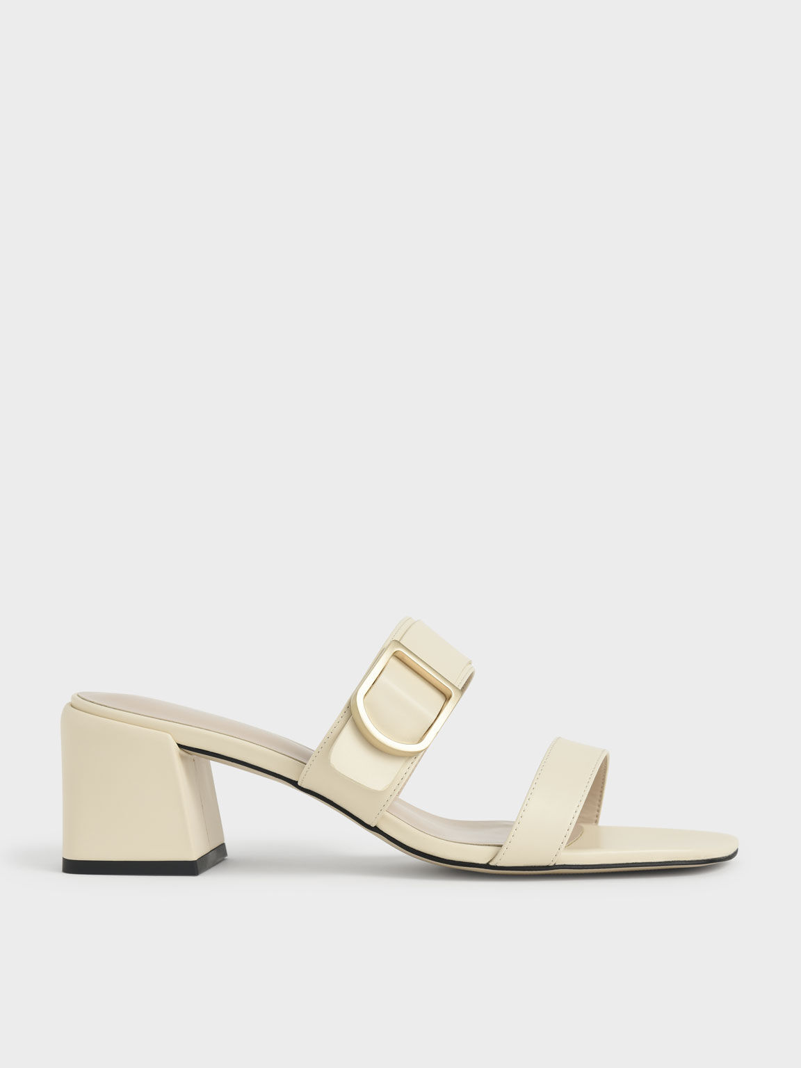 Sepatu Mules Buckle Strap Block Heel, Chalk, hi-res