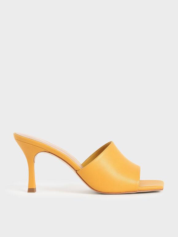 Sandal Square Toe Mules, Yellow, hi-res